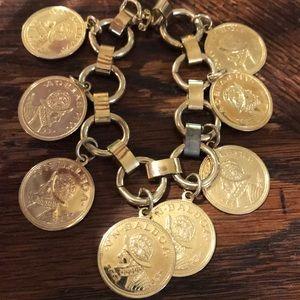 """7"""" vintage gold tone coin bracelet"""